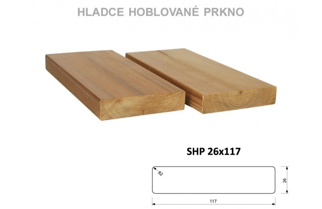 Hladce hoblované prkno SHP 26x117, Thermowood